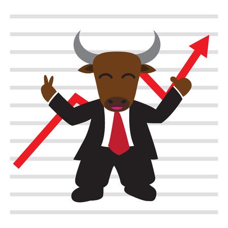 bullish market: The bull wear business suit in front of bullish stock market graph, flat style EPS 10 vector illustration.
