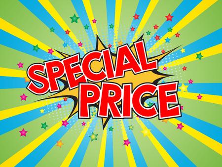 Special price, wording in comic speech bubble on burst background, eps10 vector design. Vetores