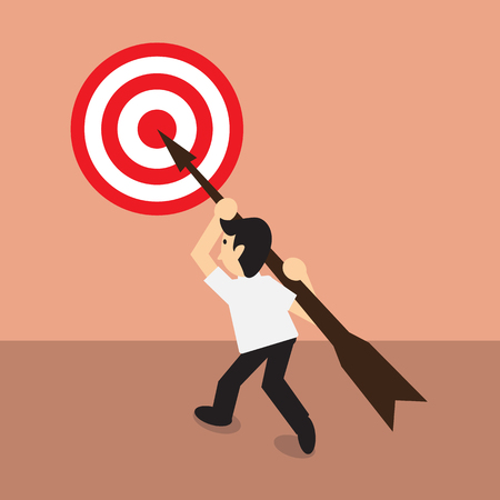 accurately: Businessman carry arrow on shoulder point to dartboard, concept for direct to target, flat style EPS 10 vector illustration. Illustration