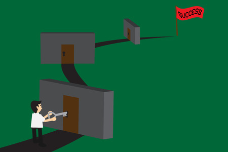 achieve goal: Business man try to unlock many doors for success, concept for solve problem to success ; EPS 10 vector illustration. Illustration