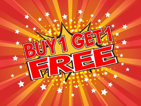 Buy1 Get1 Free, wording in comic speech bubble on burst background, EPS10 Vector Illustration