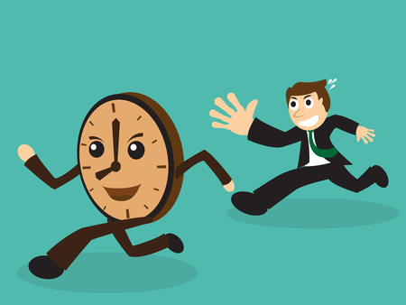 pursuing: Businessman chasing a running clock in a concept of pursuing a deadline time, flat style EPS10 vector illustration.