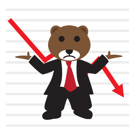bearish market: The bear wear business suit in front of bearish stock market graph, flat style EPS 10 vector illustration.