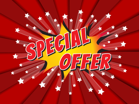 special: Special offer, wording in comic speech bubble on burst background