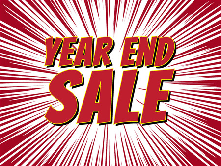 Year end sale, wording in comic speech bubble on burst background Illustration