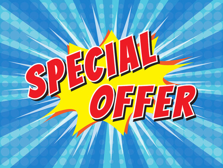 Special offer, wording in comic speech bubble on burst background Stok Fotoğraf - 52533936