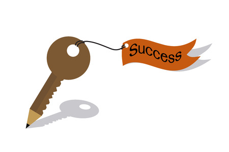 leadership key: Pencil key and flag of success concept Illustration