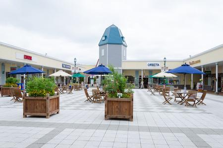 sidewalk sale: HOKKAIDO - JUNE 20: Rera outlet mall near Chitose airport on June 20, 2014 in Hokkaido, Japan.