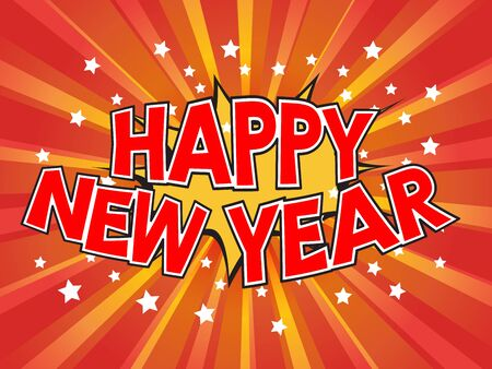 Happy New Year, wording in comic speech bubble on burst background, EPS10 Vector Illustration