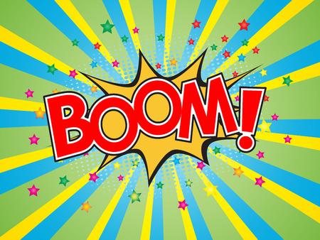 Boom, wording in comic speech bubble on burst background :  eps10 vector design.