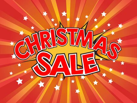 Christmas Sale, wording in comic speech bubble on burst background, EPS10 Vector Illustration