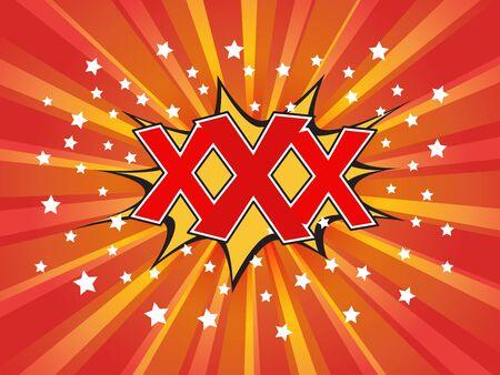 XXX, wording in comic speech bubble on burst background Illustration