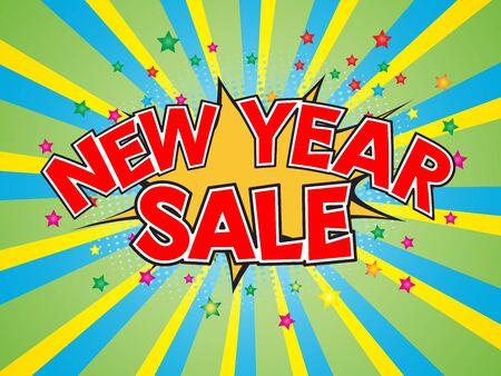 dinamita: New Year Sale, wording in comic speech bubble on burst background, EPS10 Vector Illustration