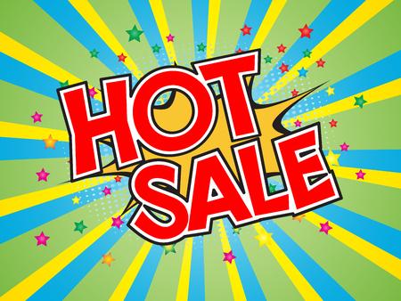 Hot Sale, wording in comic speech bubble on burst background, EPS10 Vector Illustration Illustration