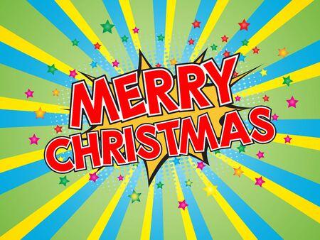 Merry Christmas, wording in comic speech bubble on burst background, EPS10 Vector Illustration