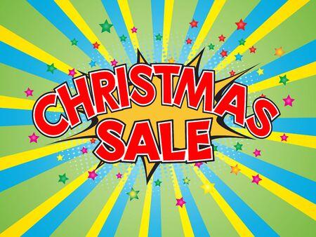 burst background: Christmas Sale, wording in comic speech bubble on burst background, EPS10 Vector Illustration