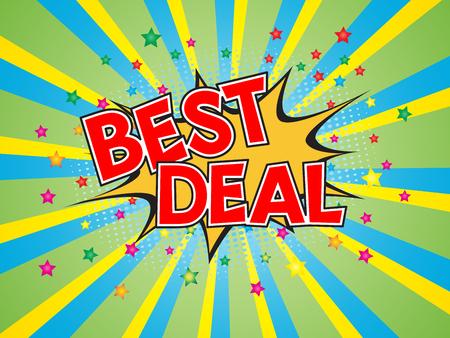 Best Deal, wording in comic speech bubble on burst background, EPS10 Vector Illustration