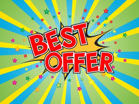 Best offer, wording in comic speech bubble on burst background, EPS10 Vector Illustration