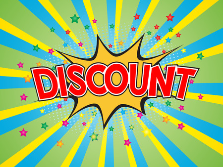 Discount, wording in comic speech bubble on burst background, EPS10 Vector Illustration Illustration