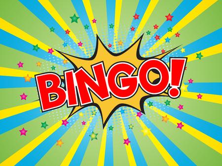 Bingo, wording in comic speech bubble on burst background, EPS10 Vector Illustration