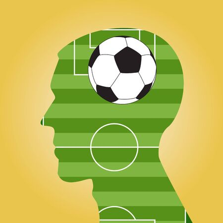 obsession: Man head silhouette with a soccer ball inside. Illustration