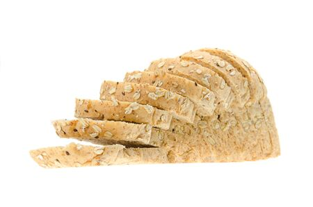 whole wheat with oat bread sliced isolated on white background.
