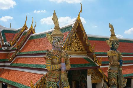 BANGKOK JULY 17: Ravana giant statue guardian of emerald buddha temple (wat phra kaew) in grand royal palace on July 17, 2016 in Bangkok, Thailand. Wat Phra Kaew, Famous temple of the Emerald Buddha in Bangkok Thailand. Editorial