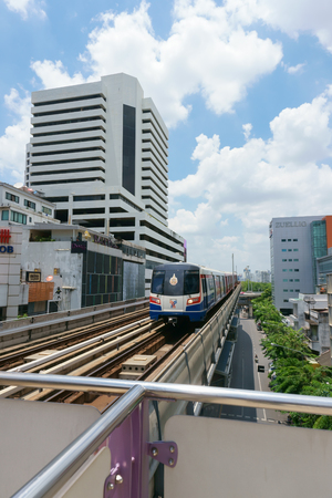 BANGKOK JULY 17: A BTS Skytrain on elevated rails on July 17, 2016 in Bangkok, Thailand. BTS is the important public transport rail network in Bangkok. Editorial