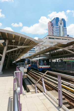 BANGKOK JULY 17: A BTS Skytrain at station on July 17, 2016 in Bangkok, Thailand. BTS is the important public transport rail network in Bangkok.