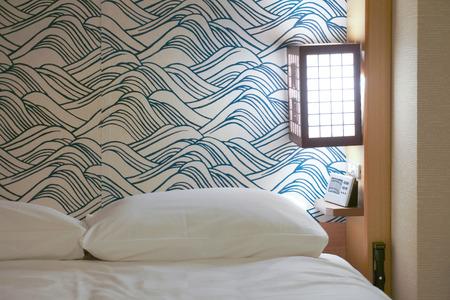 luxury hotel room: White bed in Luxury Japanese hotel room.
