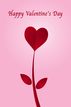 Red heart paper cut flower and happy valentines day on pink background