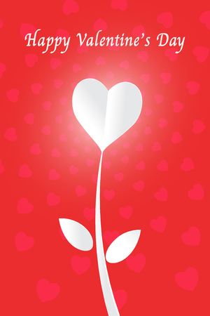 White heart paper cut flower and happy valentines day on red background