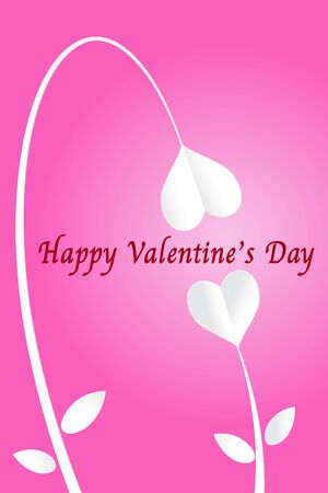 Two heart paper cut flowers and happy valentines day on pink background, EPS10 Vector Illustration