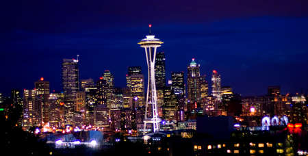 A night view of Seattle from Queen Anne Hill photo