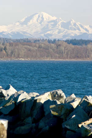 Mount Baker viewed accross of Mud Bay from White Rock Pier