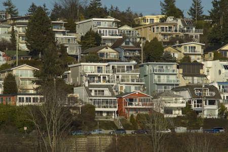 residential neighborhood: View of White Rock residential neighborhood on Marine Drive Stock Photo