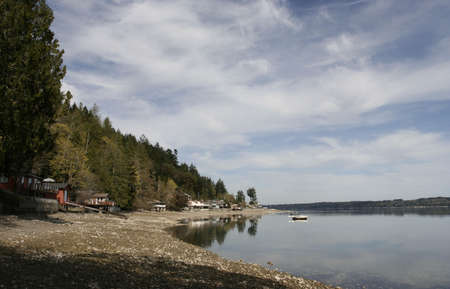 puget: Puget Sound lanscape with clouds and vacation houses