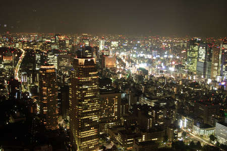 urbanscape: View of Tokyo downtown at night from Tokyo tower