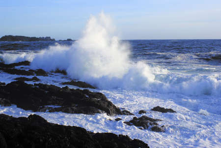 Giant wave crushing on a rocky beach on Vancouver Island Stock Photo - 3369179