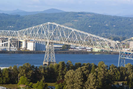 Lewis and Clark Bridge over Columbia river and industrial zone