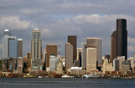 district columbia: Close up of Seattle Financial district with Columbia tower and WaMu tower