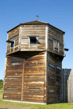 pioneer: Defense tower on a pioneer log fortress Fort Vancouver Washington State Stock Photo