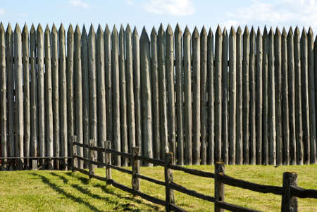fortification: Pallisade on a Pioneer fortification of Fort Vancouver near Portland Oregon