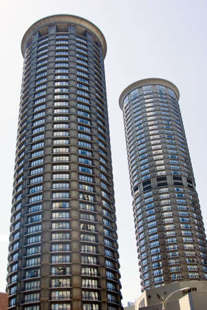 Futuristic residential tower in Seattle King County photo