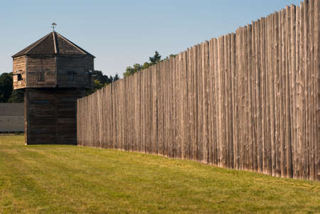 Pinoeer fortress with defense tower Fort Vancouver near Portland Stock Photo - 4075164