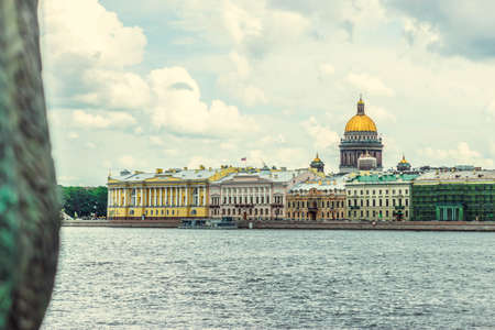 synod: Saint Isaacs Cathedral view in Saint-Petersburg Stock Photo