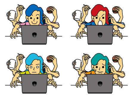 Businesswoman working on a laptop Vektoros illusztráció