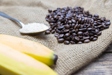 fairtrade: a set of fair trade products - banana, coffee beans and rice