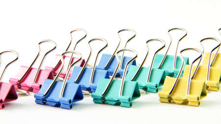 tidiness: many colorful clips with the pure white background