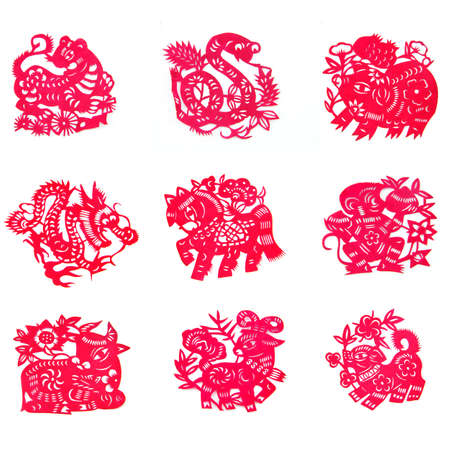 chinese pig: hermosa Corte del papel chino del zodiaco con el fondo blanco aislado